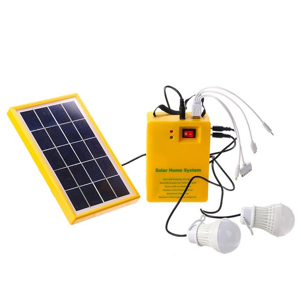 New Solar Panel Power Generator Kit 5V USB Charger Home Outdoor System with 2 LED Bulbs Light - Pixie Gears