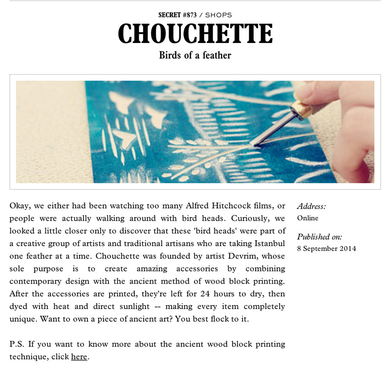 Chouchette covered on Istanbul Daily Secret Website