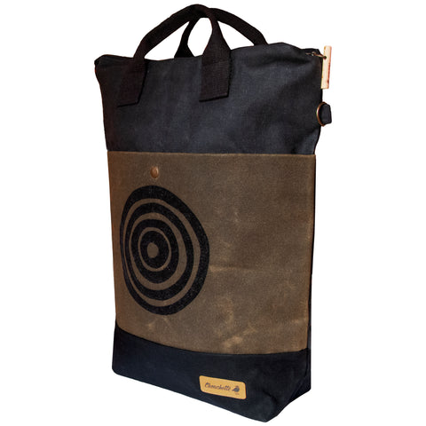 'Time' Waxed Canvas Convertible Bucket Backpack Tote Bag