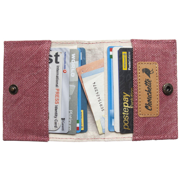 Inside the Pink Corn Cardholder with cards and cash - Devrim Studio