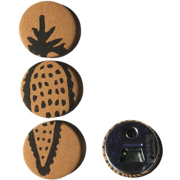 Four brown 'Corn' magnets, bottle openers, one showing the backside - Devrim Studio