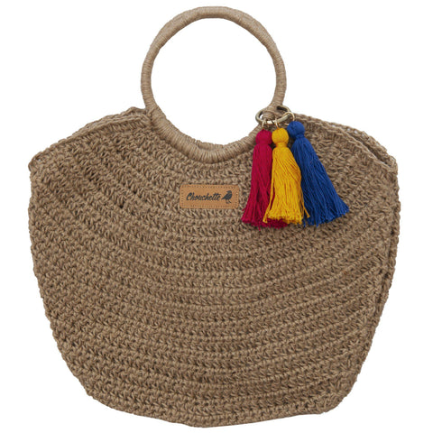 Handwoven Hemp Half Moon Handbag-Devrim Studio