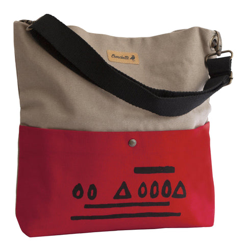 Beige and red 'Hazelnut' shoulder bag that converts into a crossbody bag-Devrim Studio