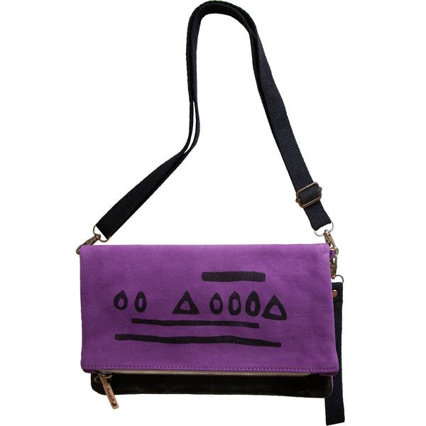 Purple 'Hazelnut' shoulder bag that converts into a crossbody bag, or a fanny pack, or a clutch - Devrim Studio