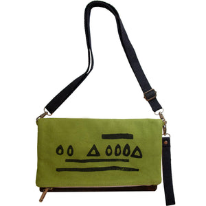 Green 'Hazelnut' shoulder bag that converts into a crossbody bag, or a fanny pack, or a clutch - Devrim Studio