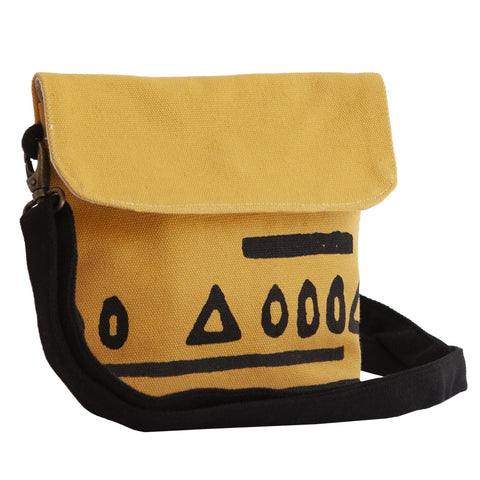 Yellow 'Hazelnut' shoulder bag that converts into a crossbody bag, or a fanny pack-Devrim Studio