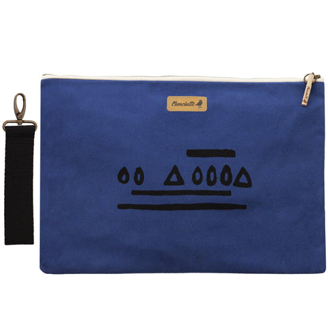 Navy blue 'Hazelnut' laptop sleeve, clutch with it's detachable, black, cotton wristlet-Devrim Studio