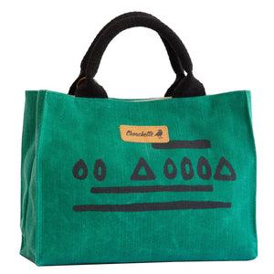 Green Hazelnut Waxed Canvas Mini Tote Bag, Shoulder Bag, Crossbody Bag-Devrim Studio