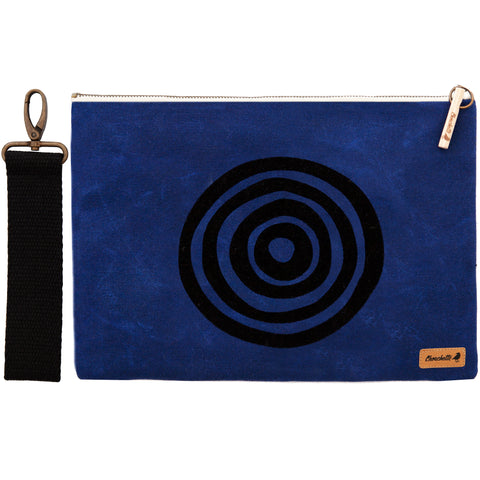 'Time' Waxed Canvas iPad Clutch