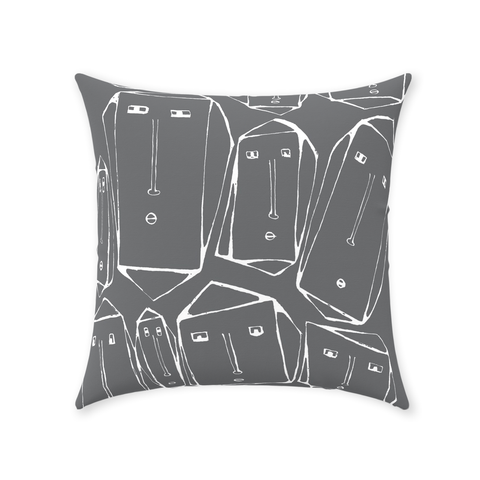 Faces Throw Pillow in Gray