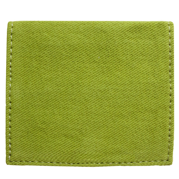 Back of the green, bifold cardholder, wallet by Devrim Studio