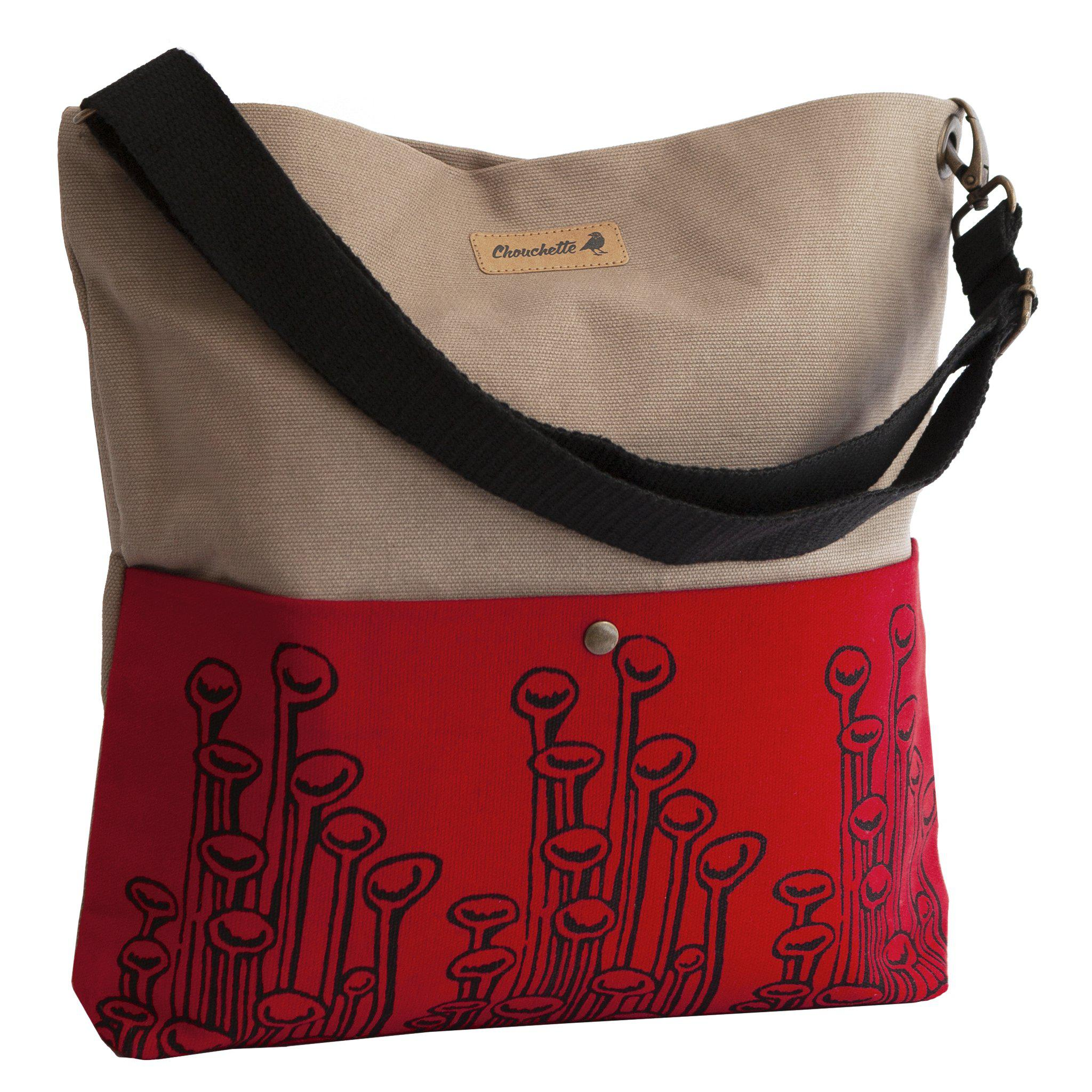 Beige and red 'Stuck to the floor' Shoulder bag that converts into a crossbody bag-Devrim Studio