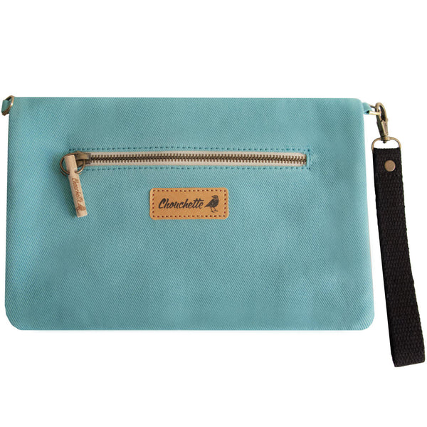 Back of the turquoise clutch, shoulder bag -Devrim Studio