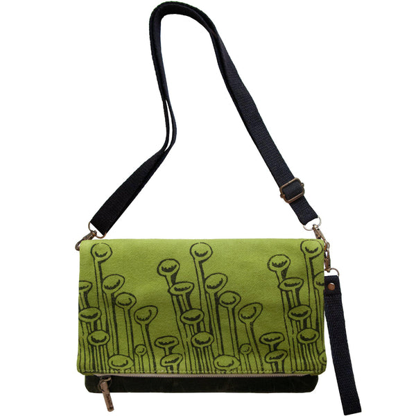Green 'Stuck to the Floor' shoulder bag that converts into a crossbody bag, or a fanny pack, or a clutch - Devrim Studio