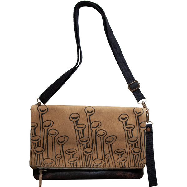 Brown 'Stuck to the Floor' shoulder bag that converts into a crossbody bag, or a fanny pack, or a clutch - Devrim Studio