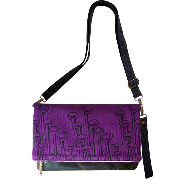 Purple 'Stuck to the Floor' shoulder bag that converts into a crossbody bag, or a fanny pack, or a clutch - Devrim Studio