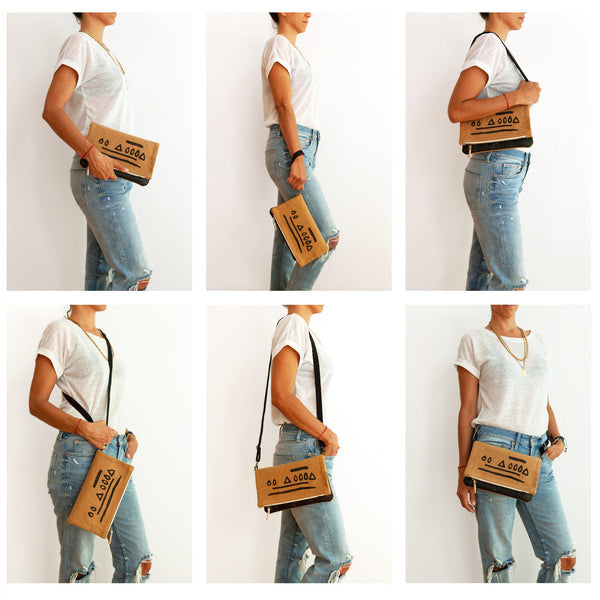 A woman wearing the hazelnut clutch in different ways by adjusting the shoulder strap-Devrim Studio