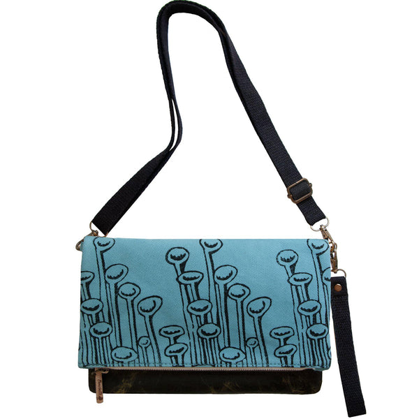 Turquoise 'Stuck to the Floor' shoulder bag that converts into a crossbody bag, or a fanny pack, or a clutch - Devrim Studio