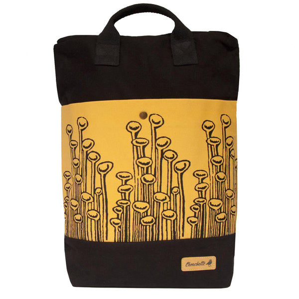 Black and yellow 'Stuck To The Floor' convertible backpack, tote bag-Devrim Studio