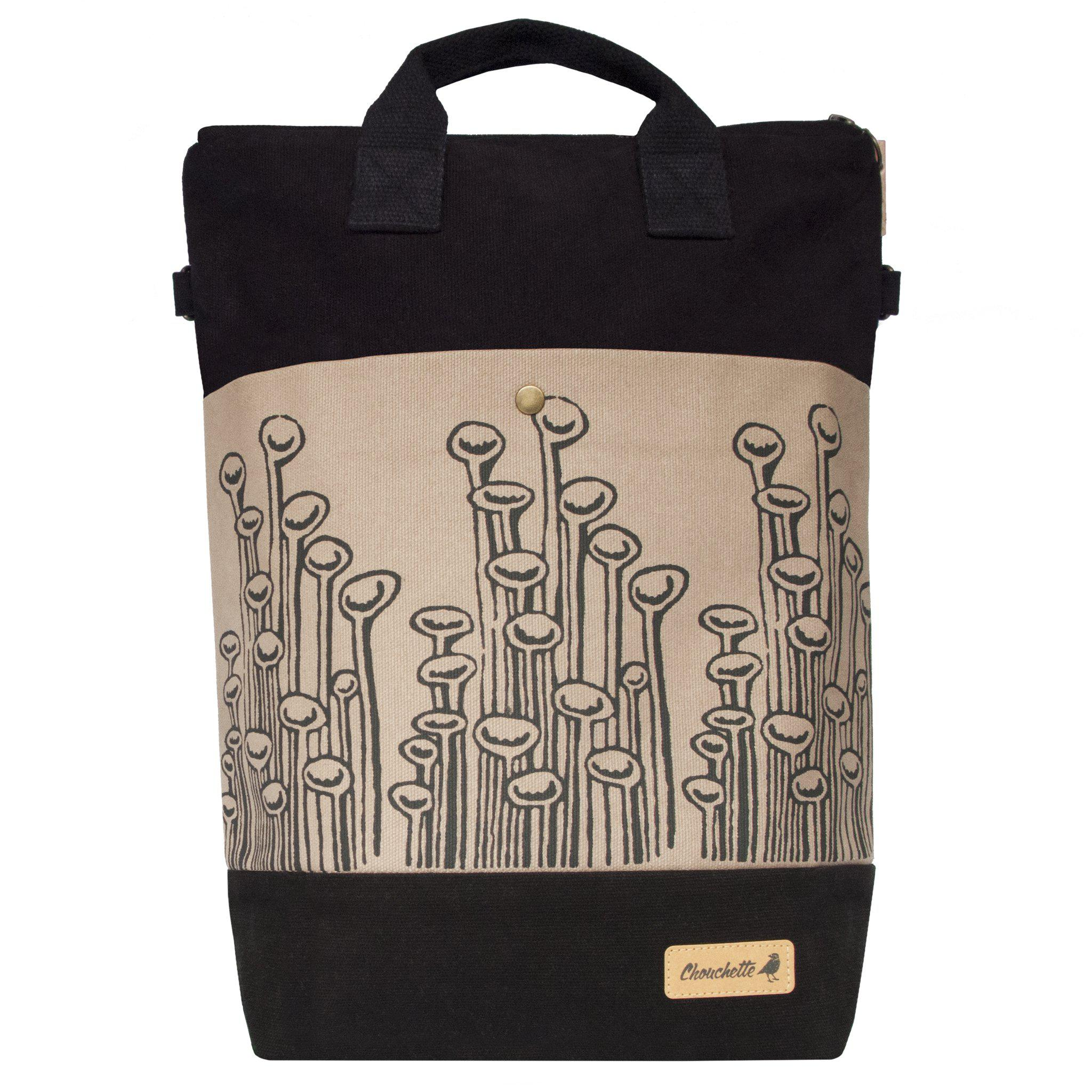 Black and beige 'Stuck To The Floor' convertible backpack, tote bag-Devrim Studio