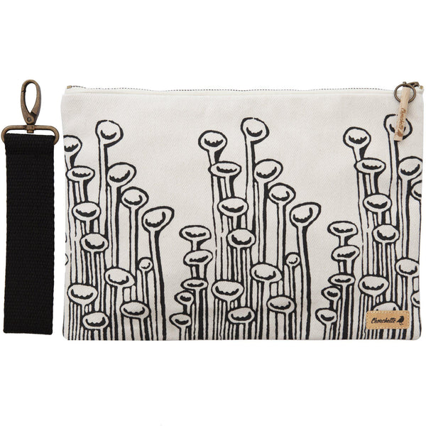 White 'Stuck to the floor' iPad sleeve, clutch with it's detachable, black, cotton wristlet- Devrim Studio