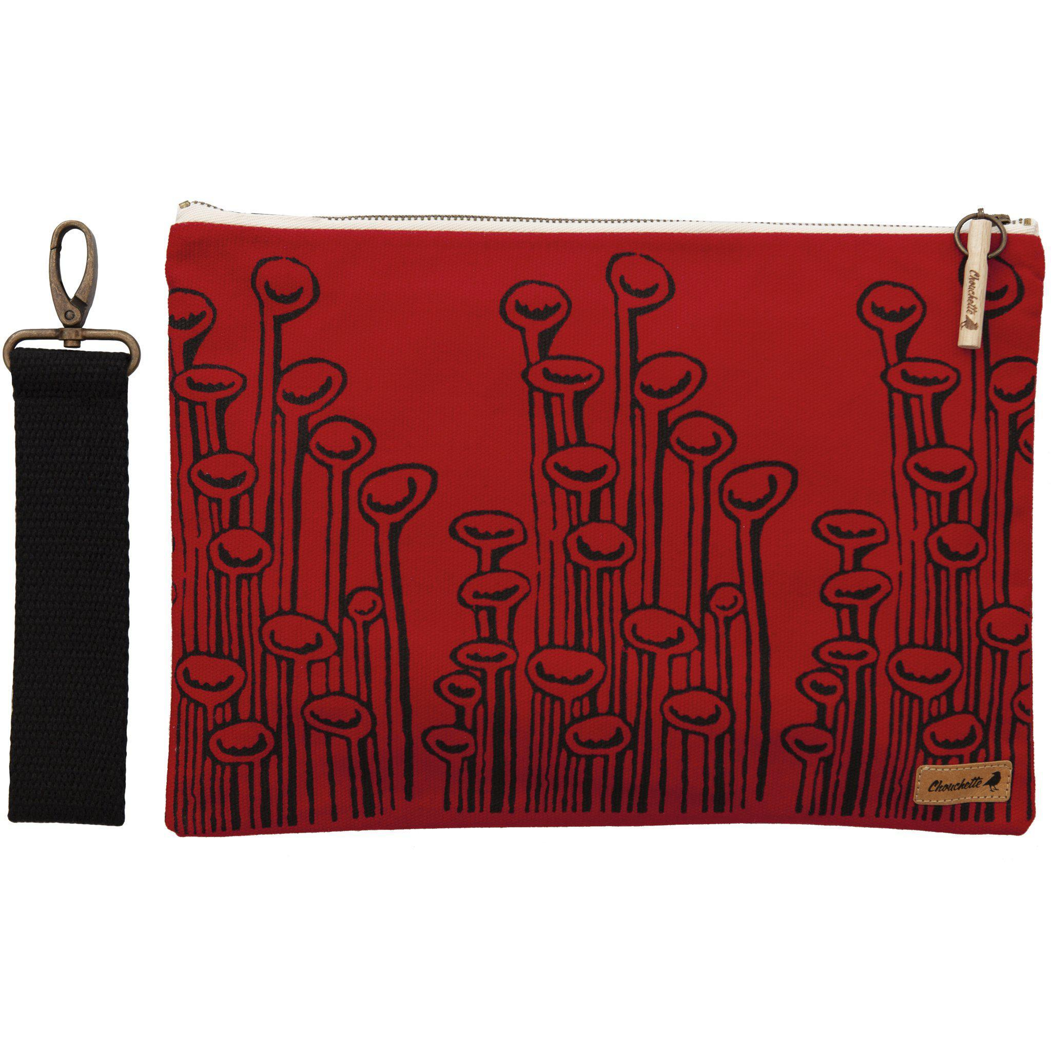 Red 'Stuck To The Floor' iPad sleeve, clutch with it's detachable, black, cotton wristlet- Devrim Studio