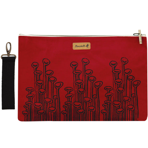 A red canvas 'Stuck To The Floor' Laptop sleeve, clutch - Devrim Studio