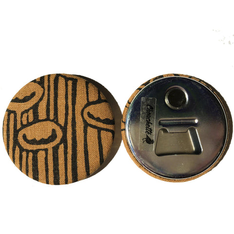 Brown 'Stuck to the floor' Fridge Magnet - Bottle Opener, showing front and back- Devrim Studio
