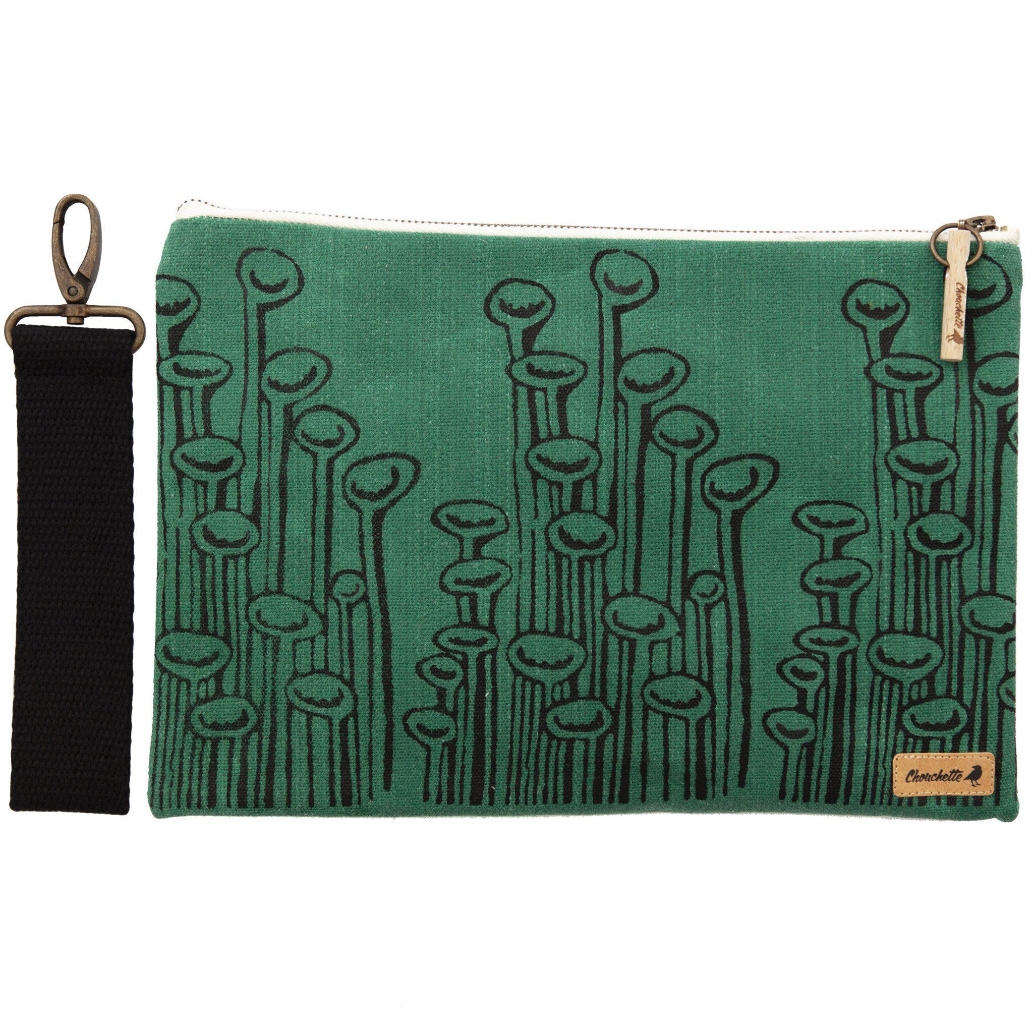 Green 'Stuck to the Floor' waxed canvas iPad sleeve, clutch and it's detachable, black, cotton wristlet - Devrim Studio