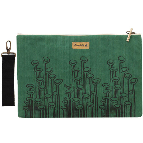 Green 'Stuck to the floor' waxed canvas laptop sleeve, clutch with it's detachable, black, cotton wristlet-Devrim Studio