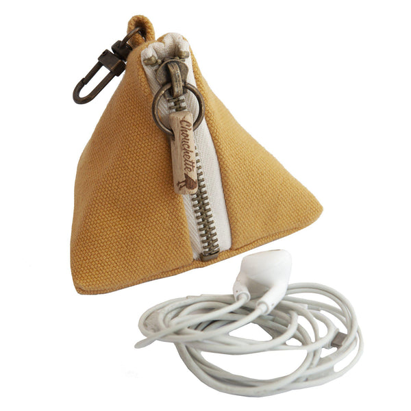 Yellow coin purse with a snap hook with headphones - Devrim Studio
