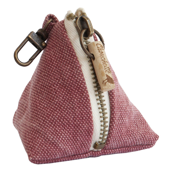 Pink coin purse with a snap hook - Devrim Studio