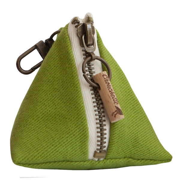 Green coin purse with a snap hook - Devrim Studio