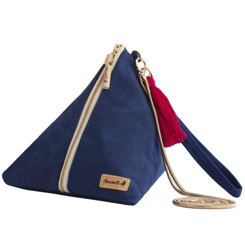 Navy blue waxed canvas Ursula Chain Purse - Devrim Studio