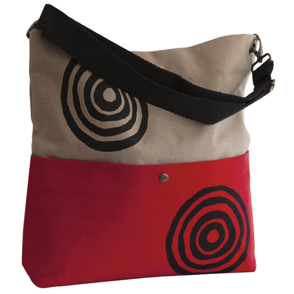 Beige and red 'Time' Shoulder Bag that converts into a crossbody bag - Devrim Studio