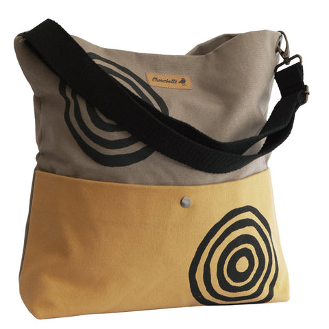 Beige and yellow 'Time' Shoulder Bag that converts into a crossbody bag - Devrim Studio