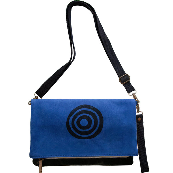 Navy blue 'Time' shoulder bag that converts into a crossbody bag, or a fanny pack, or a clutch - Devrim Studio-Devrim Studio