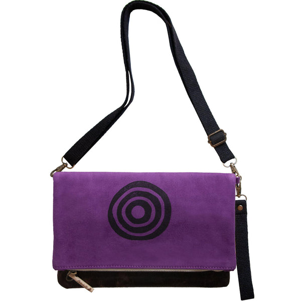 Purple 'Time' shoulder bag that converts into a crossbody bag, or a fanny pack, or a clutch - Devrim Studio-Devrim Studio
