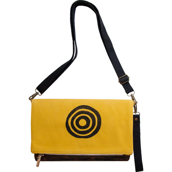 Yellow 'Time' shoulder bag that converts into a crossbody bag, or a fanny pack, or a clutch - Devrim Studio-Devrim Studio