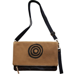 Brown 'Time' shoulder bag that converts into a crossbody bag, or a fanny pack, or a clutch - Devrim Studio-Devrim Studio