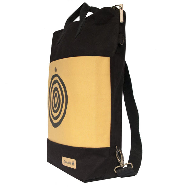 Side view of the yellow and black 'Time' Convertible Backpack, Tote Bag - Devrim Studio