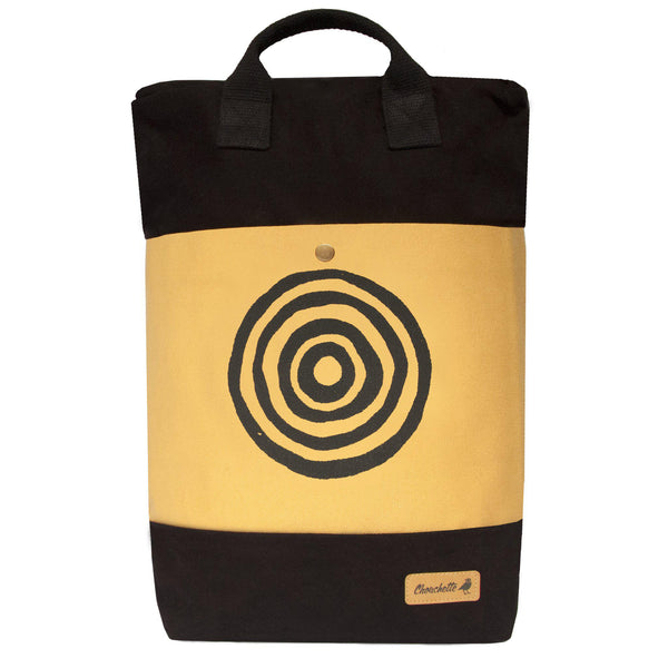 Yellow and black 'Time' Convertible Backpack, Tote Bag - Devrim Studio