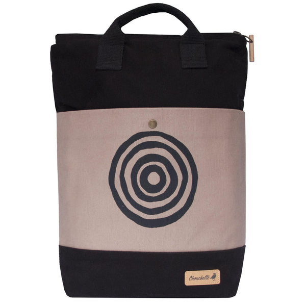 Beige and black 'Time' Convertible Backpack, Tote Bag - Devrim Studio