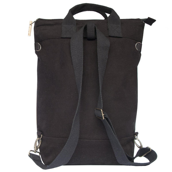 Back view of the backpack with it's shoulder strap to convert it into a crossbody bag or a shoulder bag, or even into a tote bag - Devrim Studio