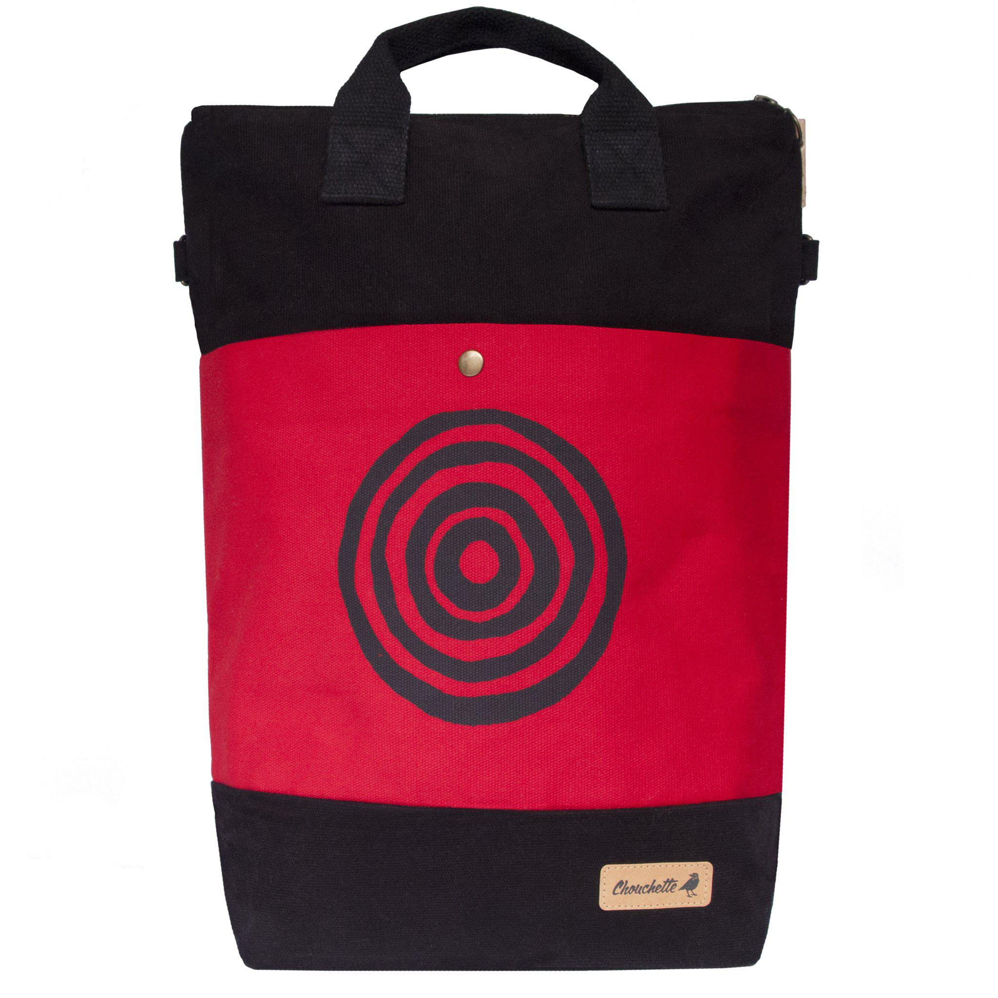 Red and black 'Time' Convertible Backpack, Tote Bag - Devrim Studio