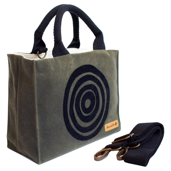 Green 'Time' Waxed Canvas Mini Tote Bag with detachable shoulder strap - Devrim Studio