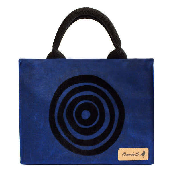 Navy Blue 'Time' Waxed Canvas Mini Tote Bag - Devrim Studio