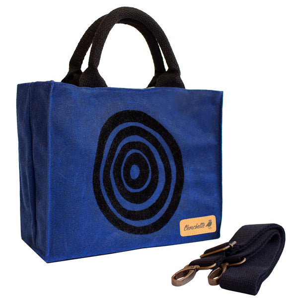 Navy blue 'Time' Waxed Canvas Mini Tote Bag with detachable shoulder strap - Devrim Studio