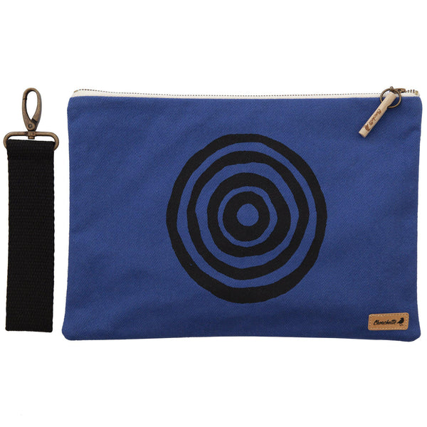Navy blue 'Time' iPad sleeve, clutch with the detachable, black, cotton wristlet - Devrim Studio