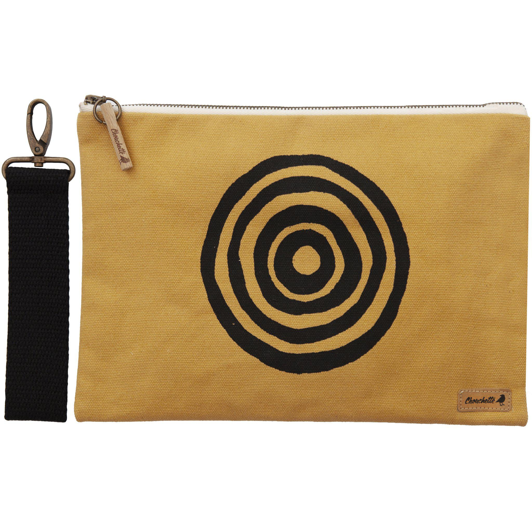 Yellow 'Time' iPad sleeve, clutch with the detachable, black, cotton wristlet - Devrim Studio